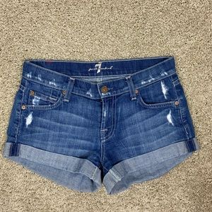 7 for all man kind distressed cuffed jean shorts